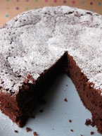 Flour-free Chocolate and Prune Truffle Cake, made with organic, gluten-free and dairy-free ingredients, and Appleton rum
