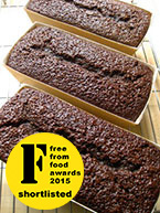 Gluten free, dairy free, nut free Jamaica Ginger Cake: dark and sticky, sweetened with dark muscovado sugar, organic blackstrap molasses and golden syrup and spiced with freshly grated Jamaican root ginger, Jamaican allspice and cinnamon – just like they make it in Jamaica. Made with gluten-free, dairy-free, nut-free ingredients, it's at its best about a week after making and keeps very well. Available plain or with lemon glacé frosting. Can be posted