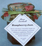Raspberry Jam: Made with unsprayed, untreated berries. Fabulous with scones, or on hot, buttered toast