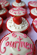 Gluten free, lactose free Strawberry Cupcakes, with soya cream cheese topping and fresh strawberries. All ingredients gluten-free and dairy-free