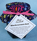 Blackcurrant Jam: A classic, old-fashioned fruit conserve, made with unsprayed, untreated allotment blackcurrants and organic lemon juice. Wonderful on sourdough bread. Finished with a fabulous fabric topper tied with paper ribbon