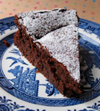 Flourless chocolate and prune truffle cake, made with organic, gluten-free and dairy-free ingredients, and Appleton rum