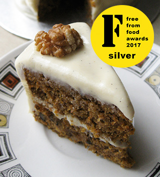 A Silver medal winner at the FreeFrom Food Awards 2017. Gluten-free vegan carrot cake. Made with egg free, gluten free, dairy free ingredients. Delivery in London. Click on the picture to find out about my other vegan cakes