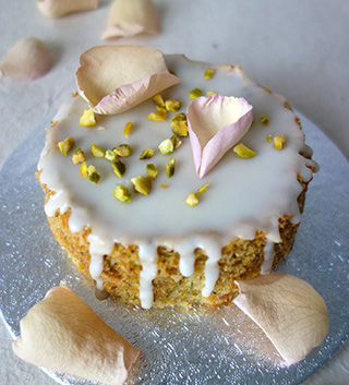 Moist, aromatic Lemon and Pistachio Cake, made with gluten free, wheat free ingredients. Delivery or collection in London, can be posted. All ingredients gluten-free