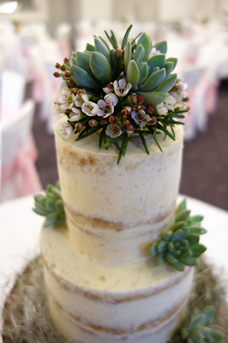 Gluten free naked winter wedding cake: Orange & Cardamom sponge filled and frosted with Marmalade & fennel buttercream. All ingredients gluten free. Cake topper and succulents by www.cherfoldflowers.com