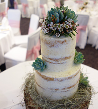 2 tier gluten free, wheat free Orange & Cardamom wedding cake made with organic ingredients. Filled and lightly frosted with spiced Orange buttercream. Dairy free and vegan wedding cakes also available