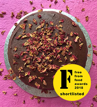 Shortlisted for FreeFrom Food Awards 2018: gluten-free vegan rich dark chocolate cake. Made with egg free, gluten free, dairy free ingredients. Delivery in London. Click on the picture to find out about my other vegan cakes