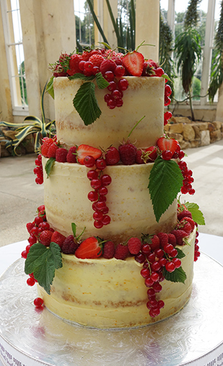 Gluten-free midsummer wedding cake in the Great Conservatory at Syon Park. Two tiers of zingy Lemon Cake, and one of zesty Orange Cake. Semi-nude, filled and frosted with zesty buttercream. All the ingredients in this wedding cake are organic and gluten free. Decorated with fresh redcurrants, strawberries and raspberries, and raspberry and blackcurrant leaves