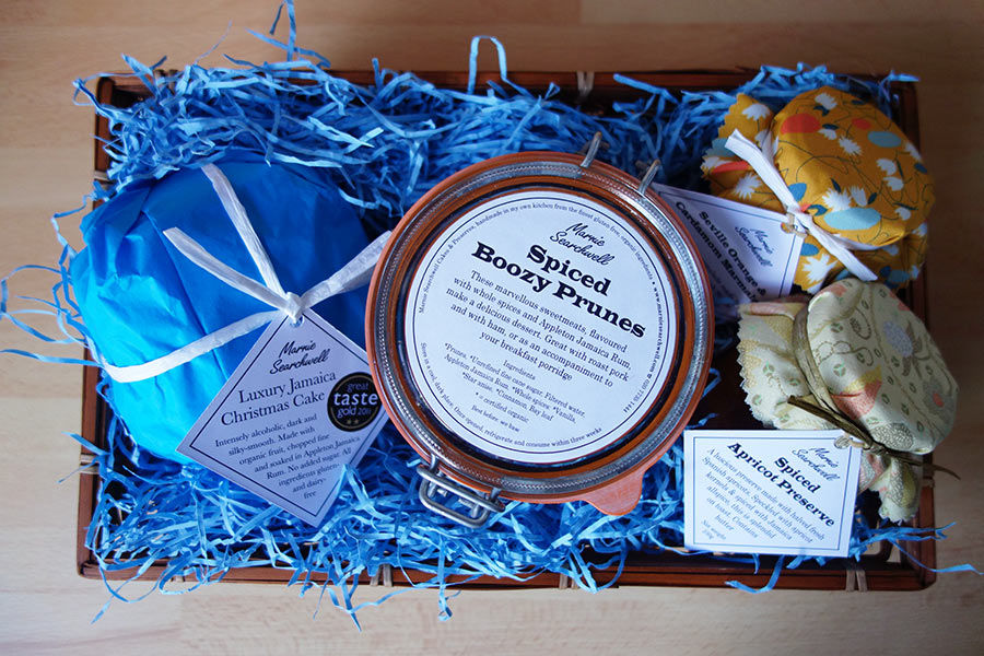Christmas Hamper: 4-inch gluten-free, dairy-free Luxury Jamaica Xmas Cake, 500ml Spiced Boozy Prunes, Jars of Seville Orange & Cardamom Marmalade and Spiced Apricot Preserve