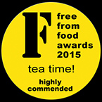 Highly commended in the Tea Time category at the Free From Food Awards in April 2015. The judges said: 'Fabulous Christmas product! Lots of alcohol, nutmeg and allspice work well alongside sultanas & cherries ... Moist and very tasty, strong & dark – good that it is gluten- and dairy-free.'