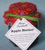 Apple Butter: Adapted from a traditional American recipe: made with organic English Bramley apples, spiced with freshly ground cinnamon, cloves and allspice. My kids love this on toast, or with cheese. Finished with a fabulous fabric topper tied with paper ribbon