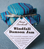 A gorgeous jam, made simply with unsprayed, untreated windfall damsons from our London allotment, and organic sugar – no added anything! Finished with a fabulous fabric topper tied with silver paper ribbon